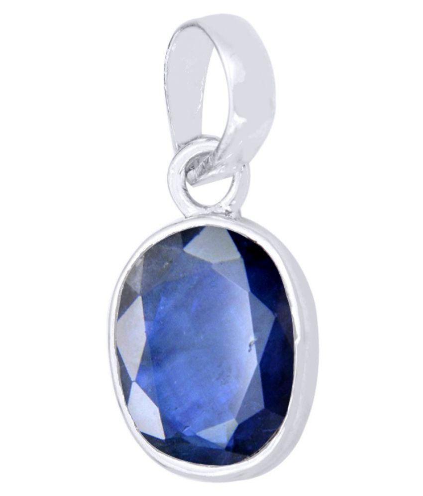 Avaatar 10.25 Ratti Certified Oval Cut Blue Sapphire Gemstone Silver Pendant