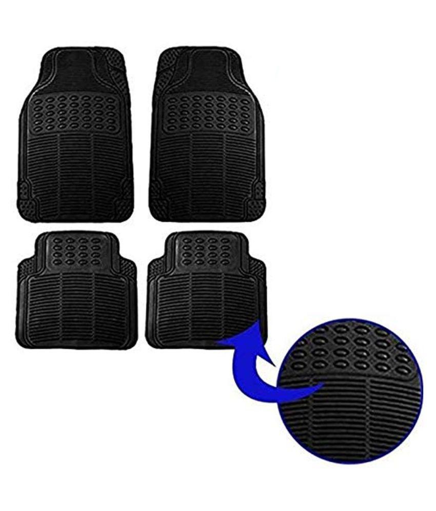 Ek Retail Shop Car Floor Mats (Black) Set of 4 for SkodaRapid1.6MPIStyle