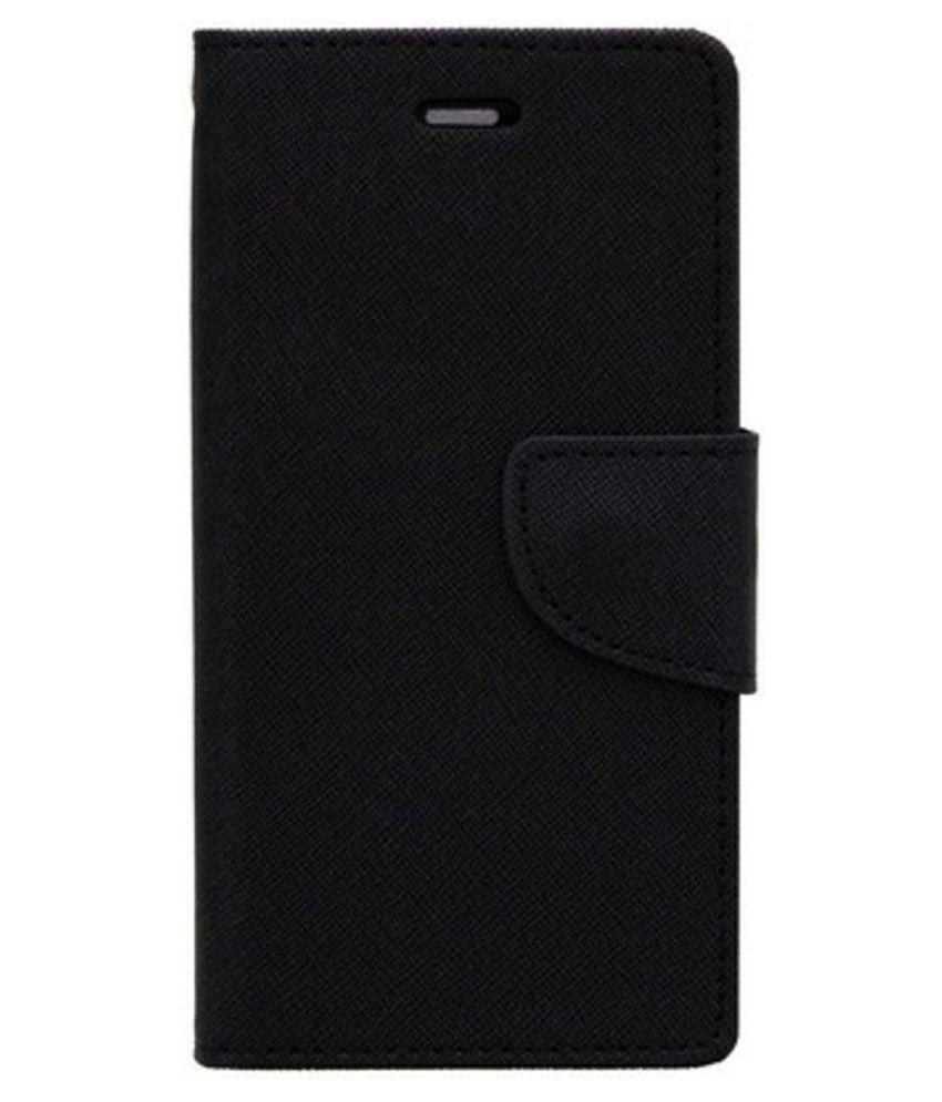 Samsung Galaxy J5 Flip Cover by Kosher Traders - Black Premium Mercury