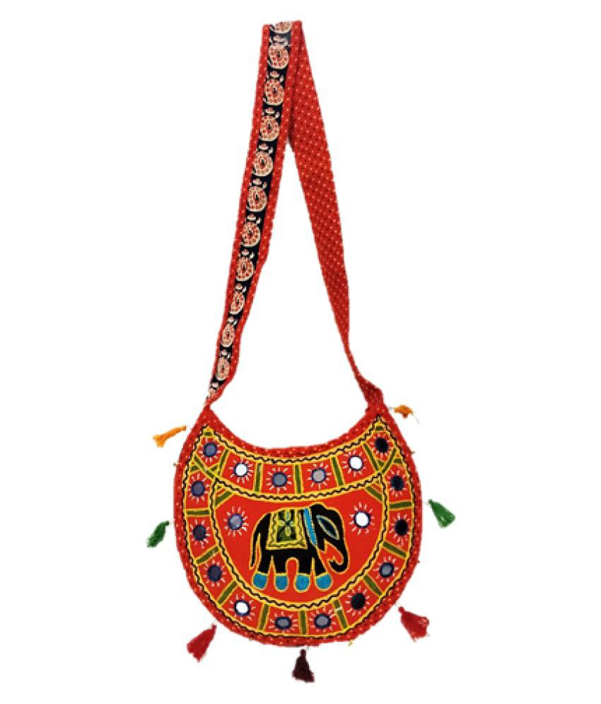 Divyanjali Orange Fabric Sling Bag