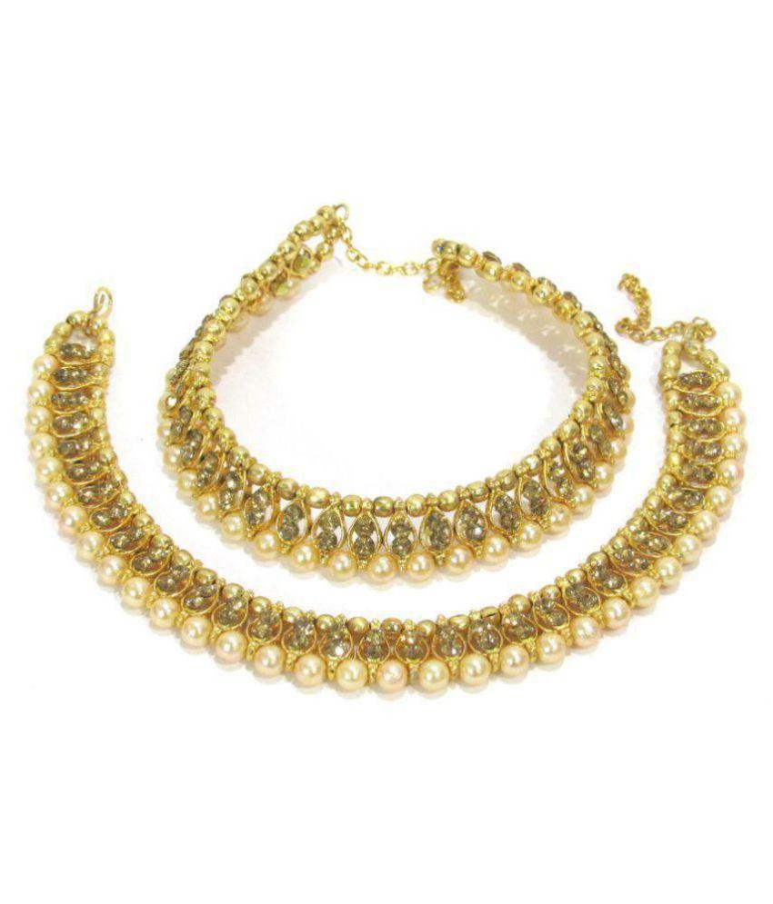 Golden stone big pearl anklet