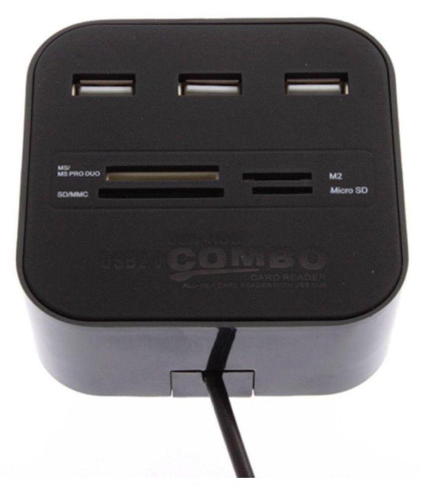 Storite 3 Ports USB 2.0 HUB Multi-card Reader Black 2.0