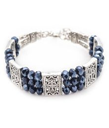 Silver toned blue crystal textured bracelet