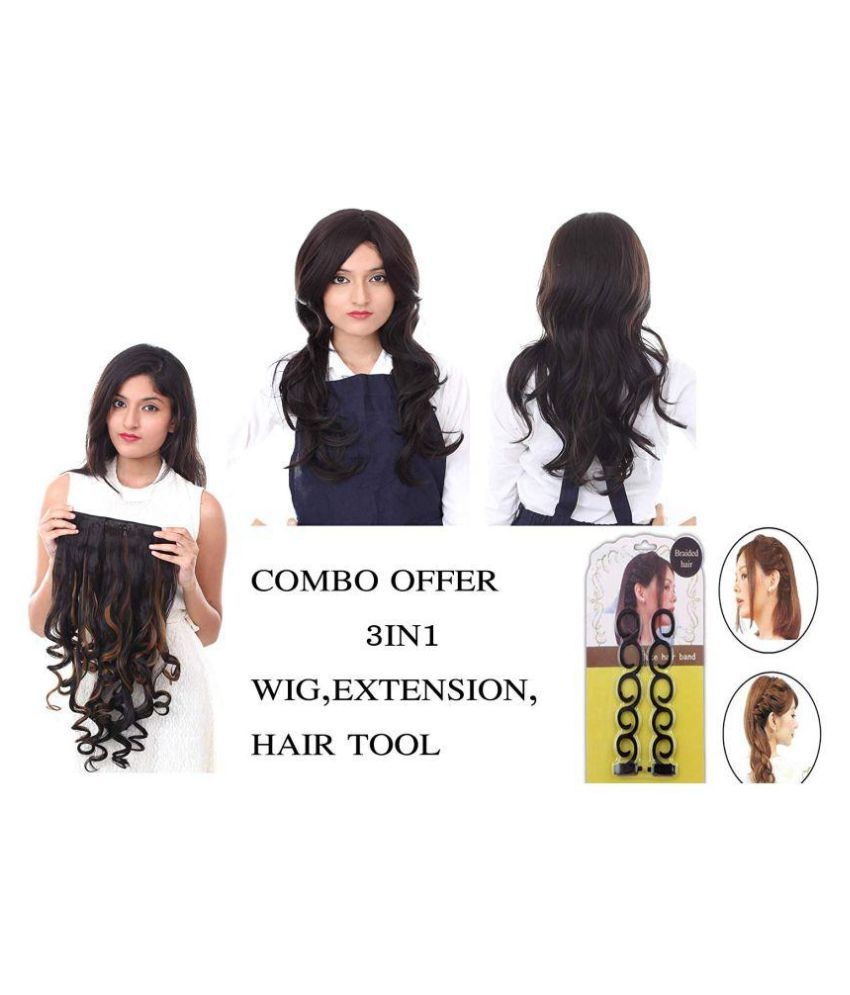 3 IN 1 Combo Offer Women Fibre Synthetic Black Natural wavy curly medium hair wig 211 4 with Golden black curly Hair Extension With one hair accessories tool