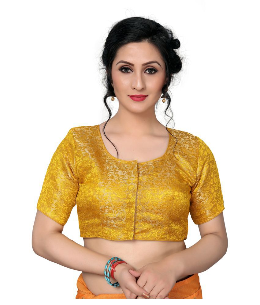 Amrutam Fab Yellow Jacquard Readymade with Pad Blouse