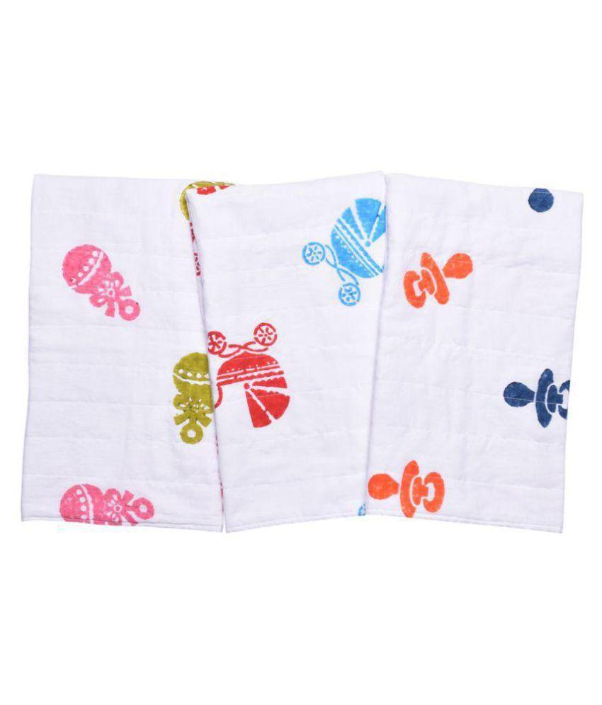 MK HANDICRAFT White Cotton Baby Wrap cum blanket ( 75 cm × 65 cm - 3 pcs)