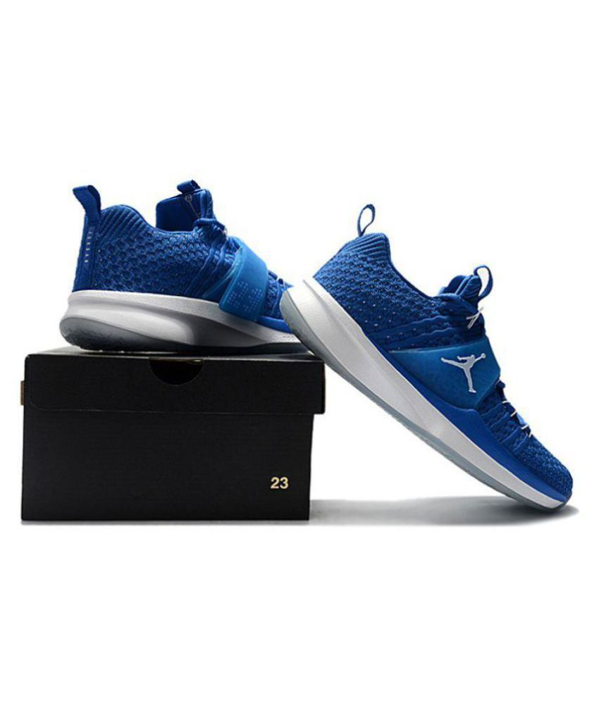 quality design 43170 1c3a0 Nike Air Jordan Trainer 2 Flyknit Blue Basketball Shoes