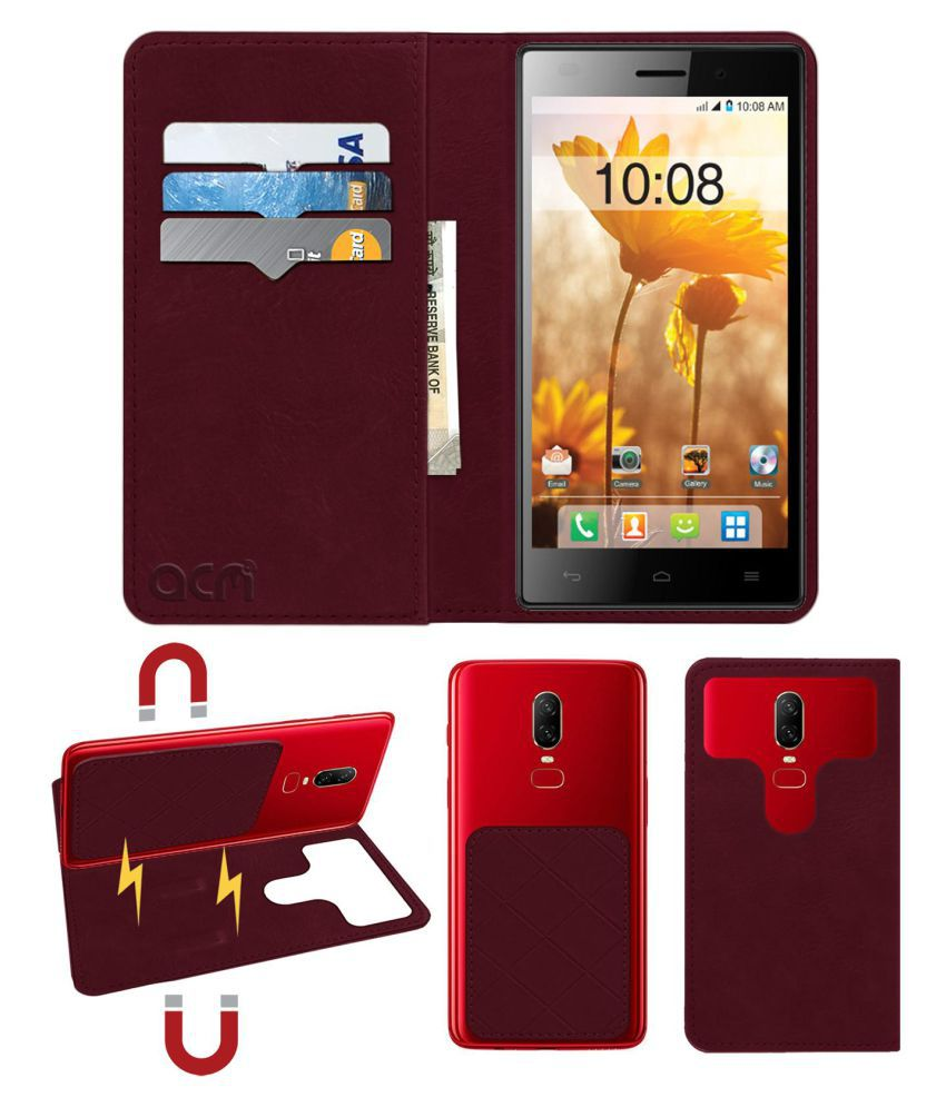 Intex Aqua Power Plus Flip Cover by ACM - Red 2 in 1 Detachable Case,Attachable Flip With Magnet