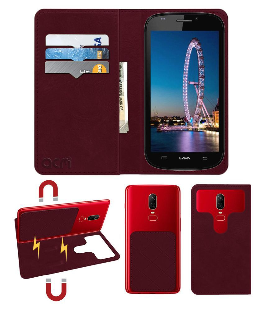 Lava Iris 501 Flip Cover by ACM - Red 2 in 1 Detachable Case,Attachable Flip With Magnet
