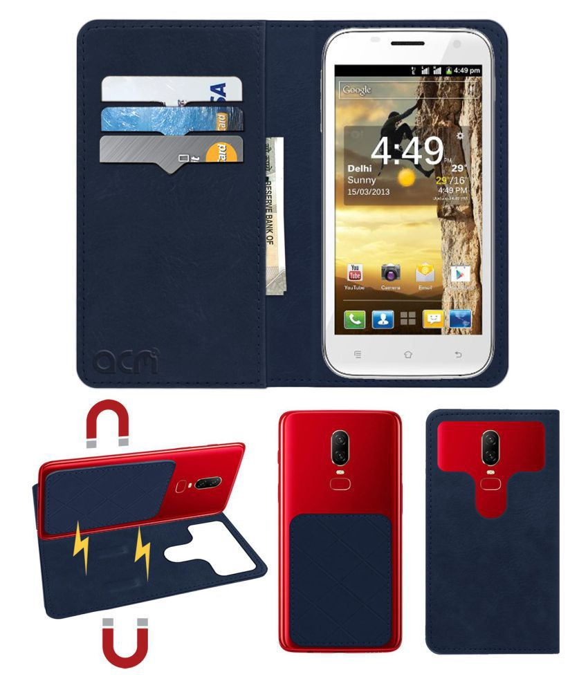 Spice Mi-510 Stellar Prime Flip Cover by ACM - Blue 2 in 1 Detachable Case,Attachable Flip With Magnet