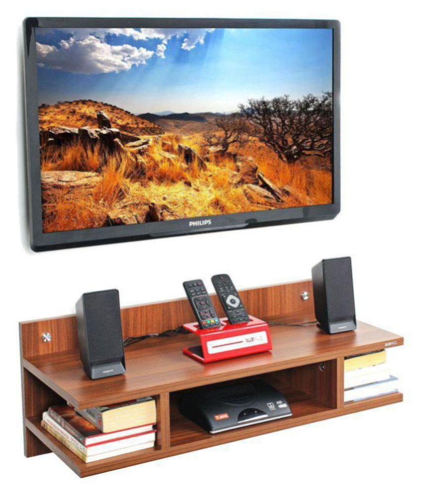 Bluewud Reynold TV Entertainment Unit Wall Set Top Box Stand Shelf(Walnut Stabdard)