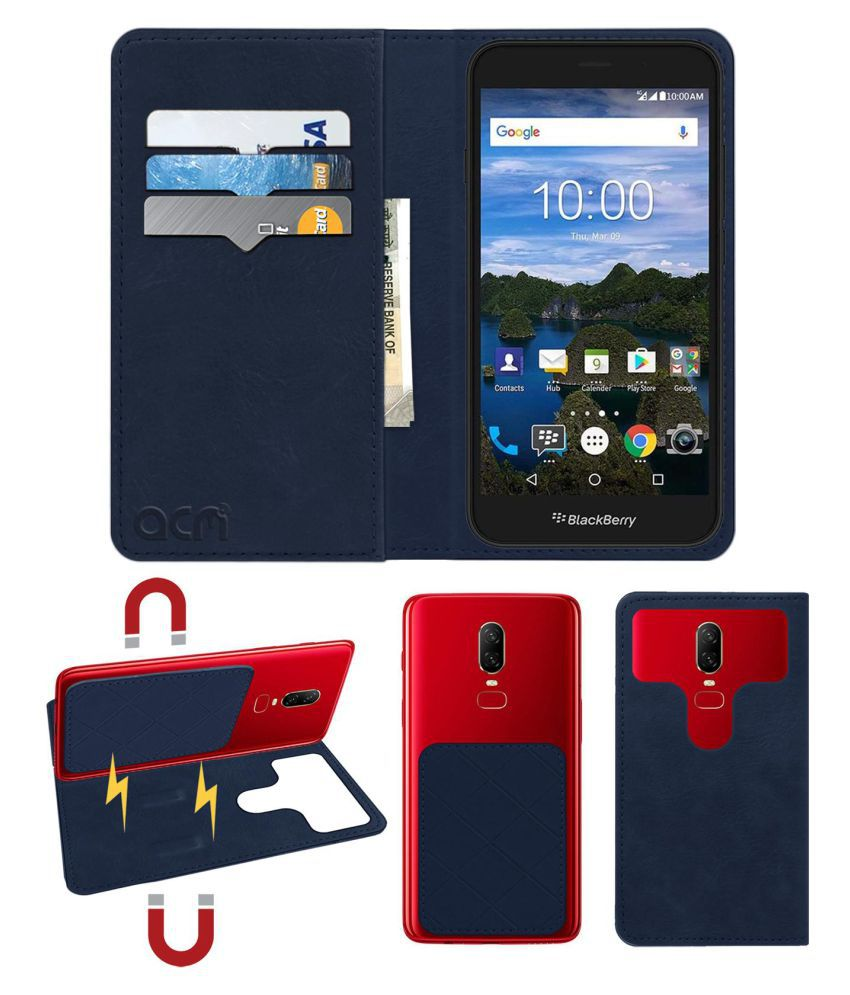 Blackberry Aurora Flip Cover by ACM - Blue 2 in 1 Detachable Case,Attachable Flip With Magnet
