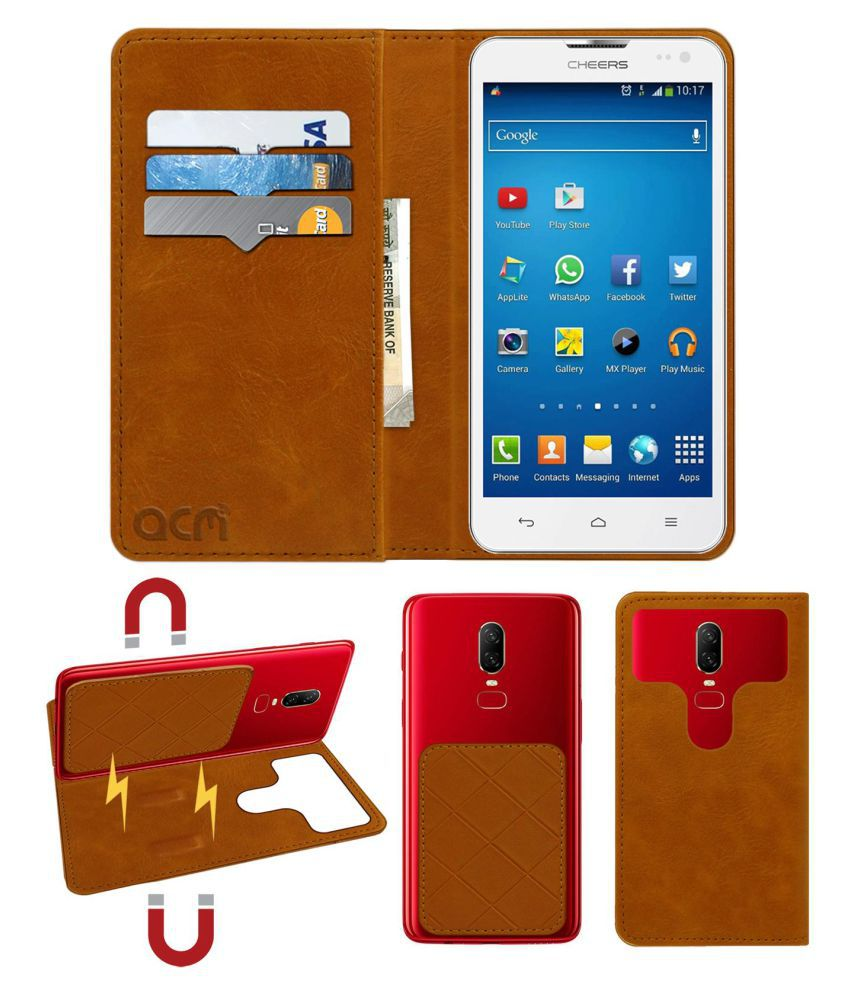 Cheers Smart Turbo Flip Cover by ACM - Golden 2 in 1 Detachable Case,Attachable Flip With Magnet