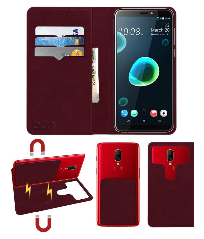 Htc Desire 12 Plus Flip Cover by ACM - Red 2 in 1 Detachable Case,Attachable Flip With Magnet