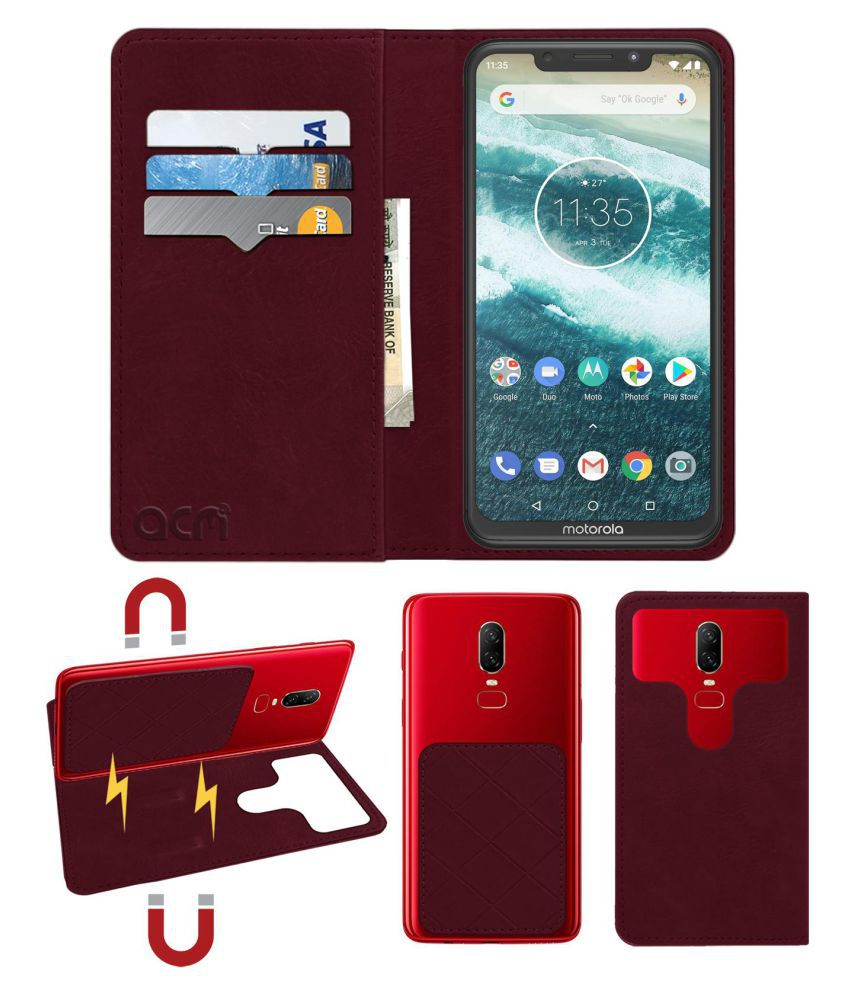 Motorola One Power Flip Cover by ACM - Red 2 in 1 Detachable Case,Attachable Flip With Magnet