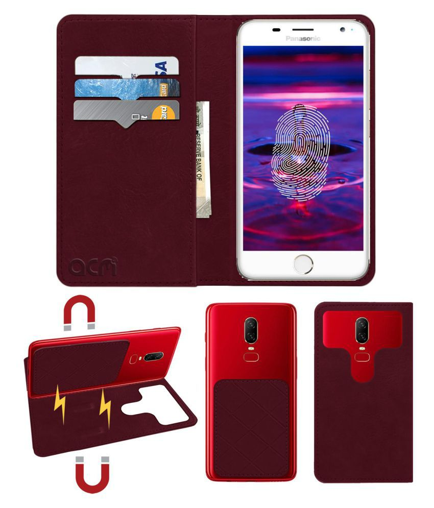 Panasonic Eluga Prim Flip Cover by ACM - Red 2 in 1 Detachable Case,Attachable Flip With Magnet