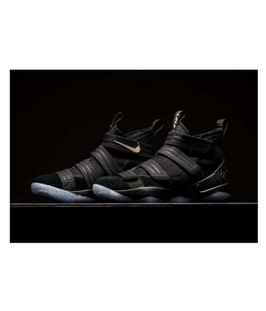 492dbda49ae Nike Lebron Soldier 11 Finals Black Metallic Gold Midankle Male Black  Buy  Online at Best Price on Snapdeal
