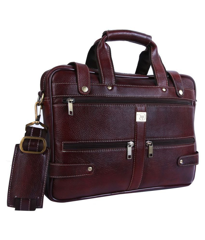 ROME HUNTERS Brown Leather Office Messenger Bag