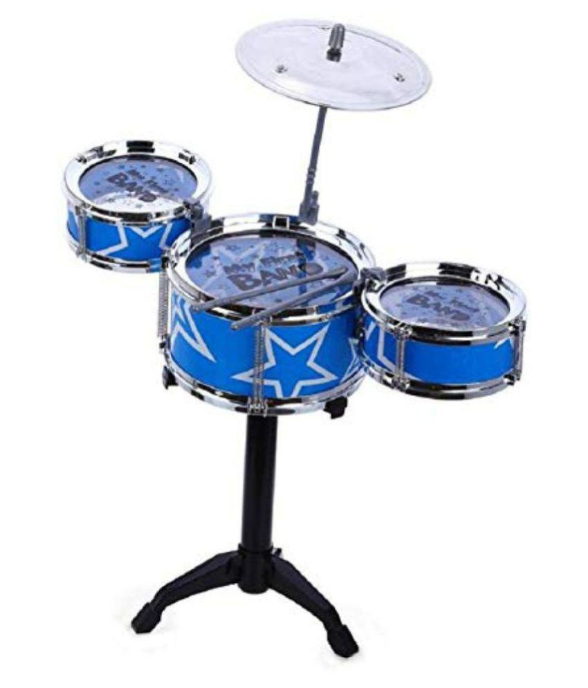RUDRA INTERNATIONAL Jazz Drum Mini Instruments Set Kit Musical Toy with High Straight PVC Material Drumhead for Kids