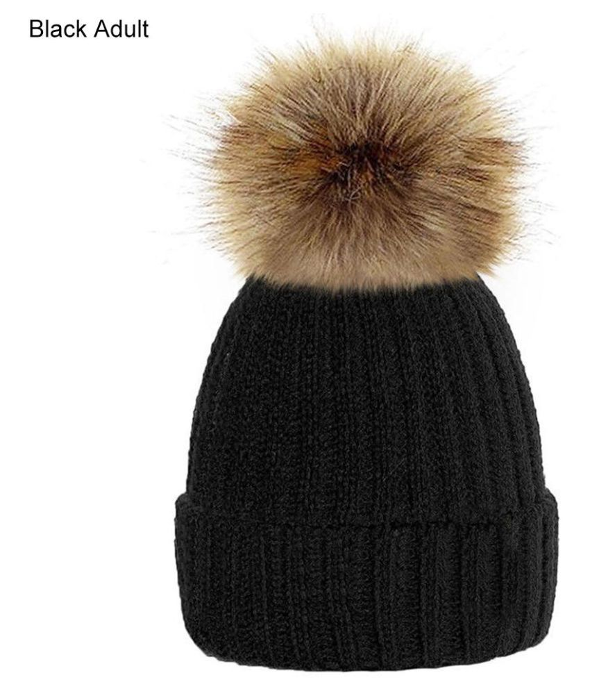 c73eed79c4b Fashion Cute Fluffy Ball Baby Kids Adult Beanie Hat Winter Warm Knitted Cap  Gift - Buy Online   Rs.