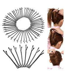 50 Pcs Metal Waved Hair Clips Bobby Salon Pins Grips Hairpins Barrette Black