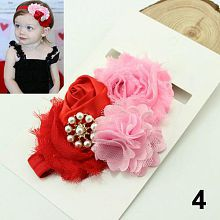 Kids Baby Girl Elastic Sequin Faux Pearl Rose Flower Bud Knot Headband Hair Band