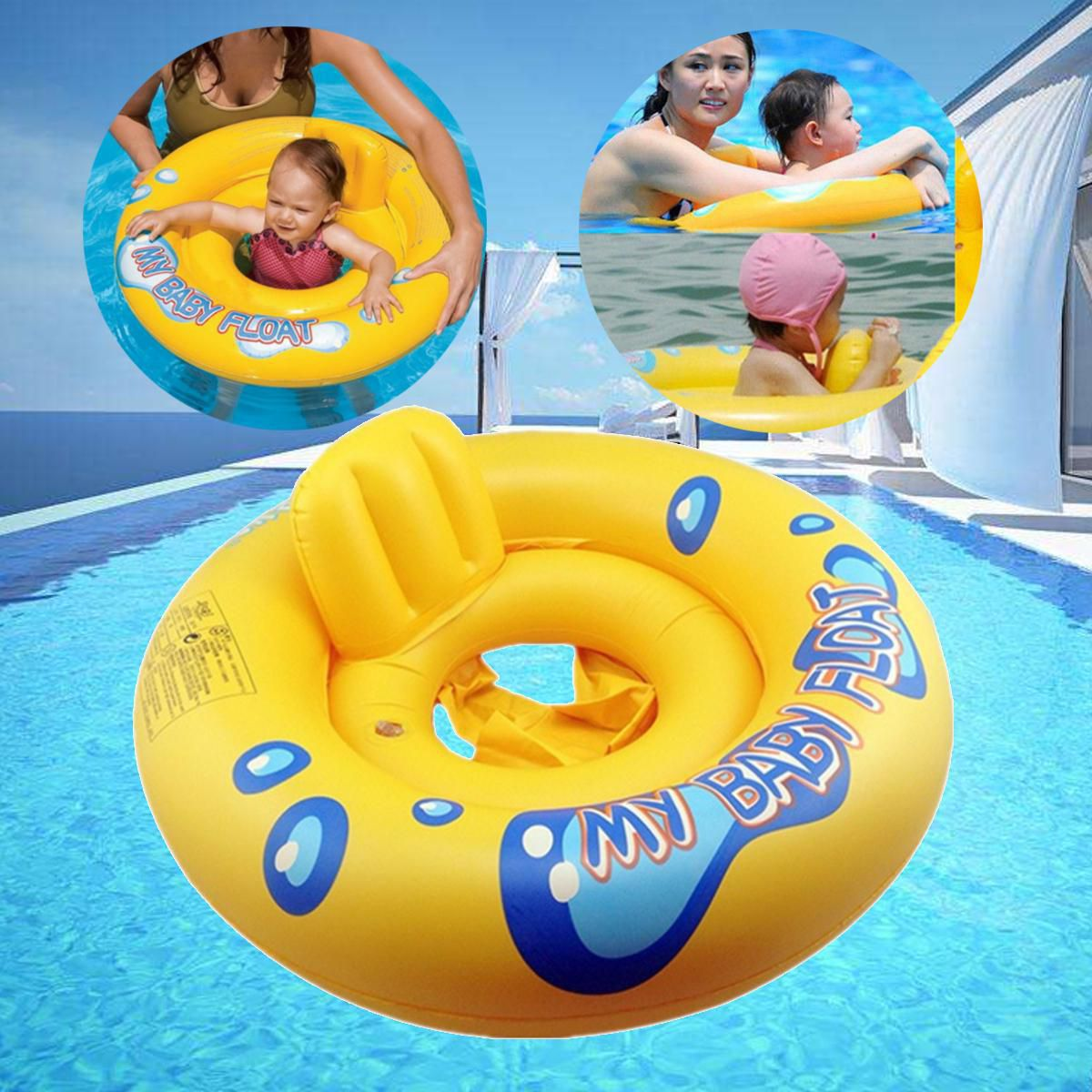 Inflatable Baby Infant Kids Seat Aid Swimming Pool Float Raft Ring Swim  Trainer