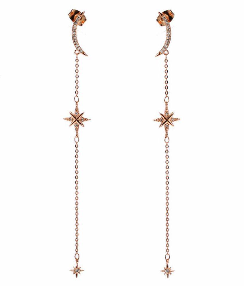79fc30d6 JASSY Trendy Moon Star Stellar Long Womens Earrings Rose Gold Zirconia 925  Sterling Silver Earrings