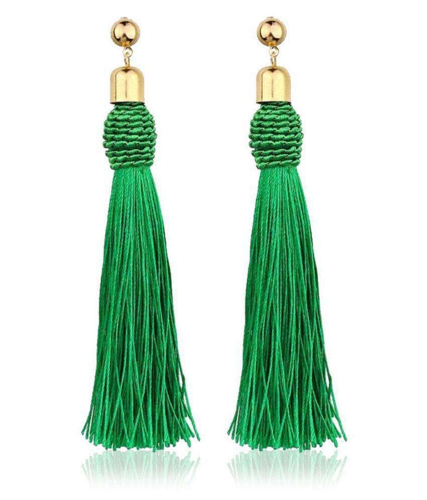 Women Fashion Geometric Shape Tassel Push Back Pierced Drop Dangle Earrings Fashion Jewellery