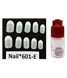 Auraskin Acrylic Artificial Shining Fake Nails French Manicure French Nails With At Any Cost Nail Care, Manicure & Pedicure