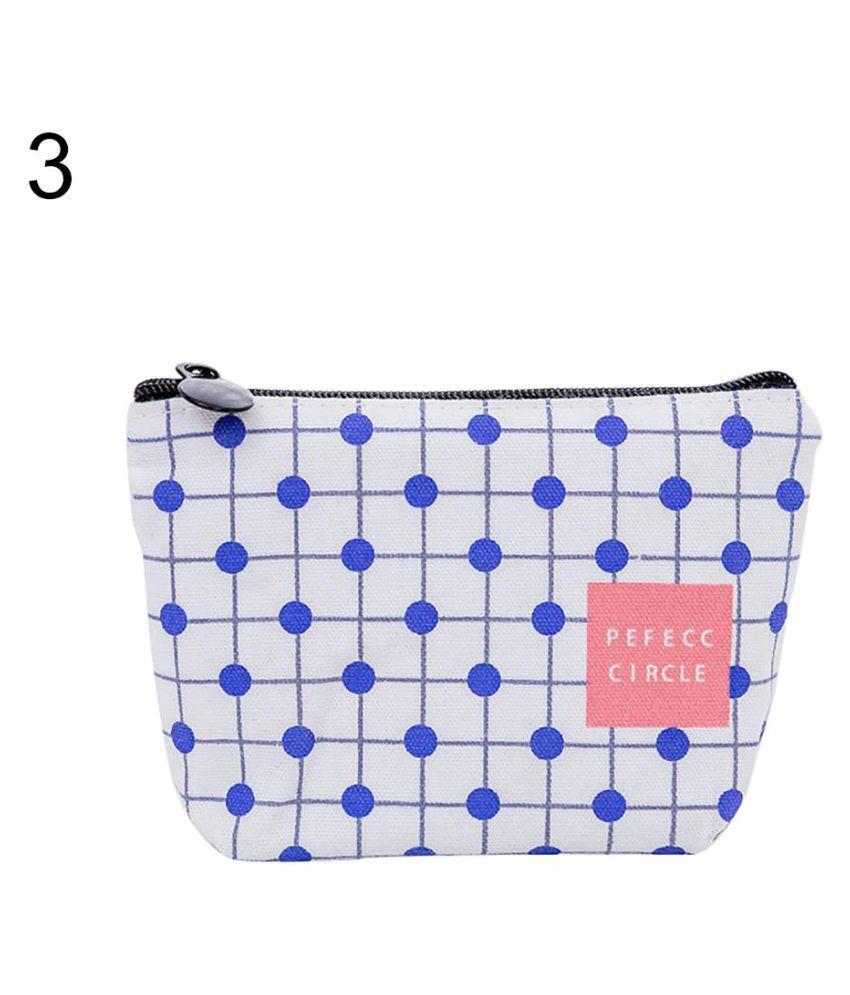 Fashion Geometric Pattern Women Canvas Mini Wallet Zipper Coin Purse Card Bag