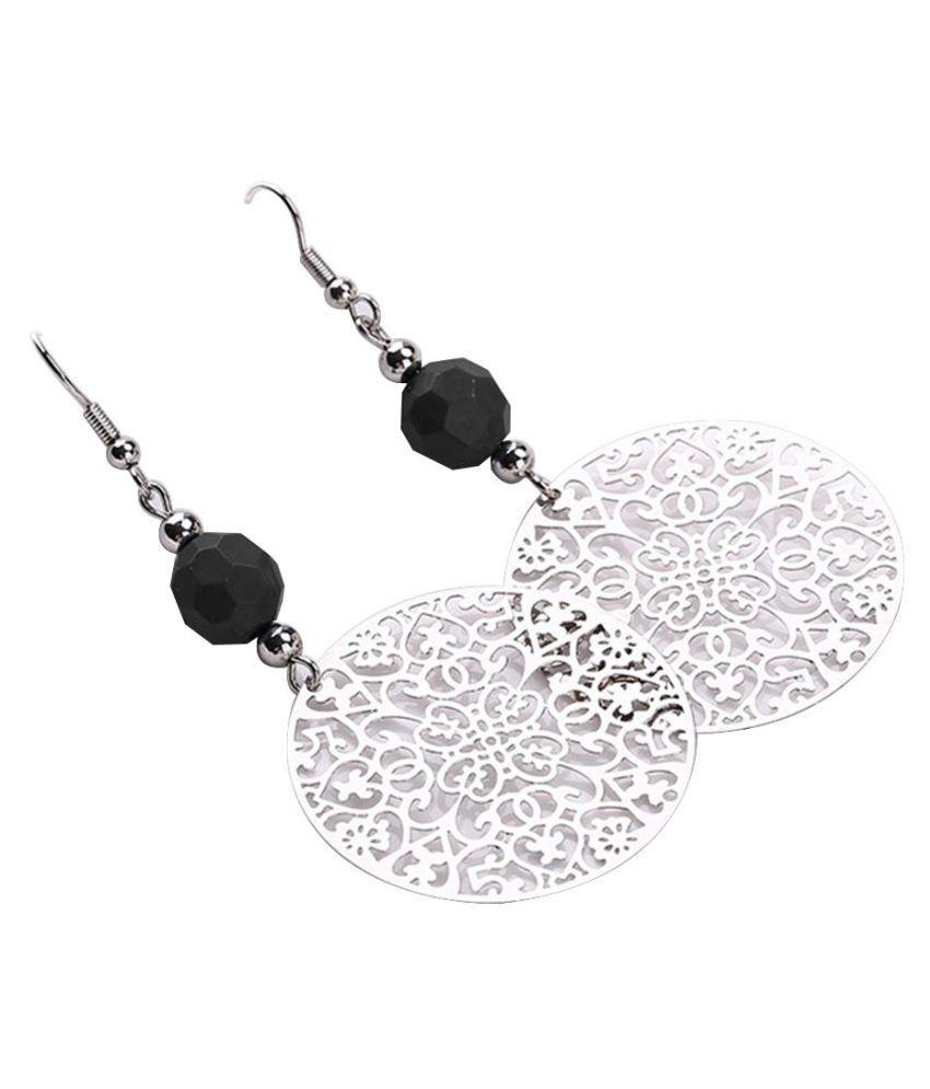 Vintage Women Hook Earrings Big Hollow Round Flower Bead Pendant Party Jewelry Fashion Jewellery