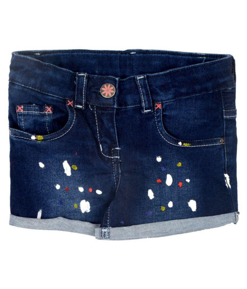 Tales & Stories Girls Dark Blue Regular Fit Lycra Shorts