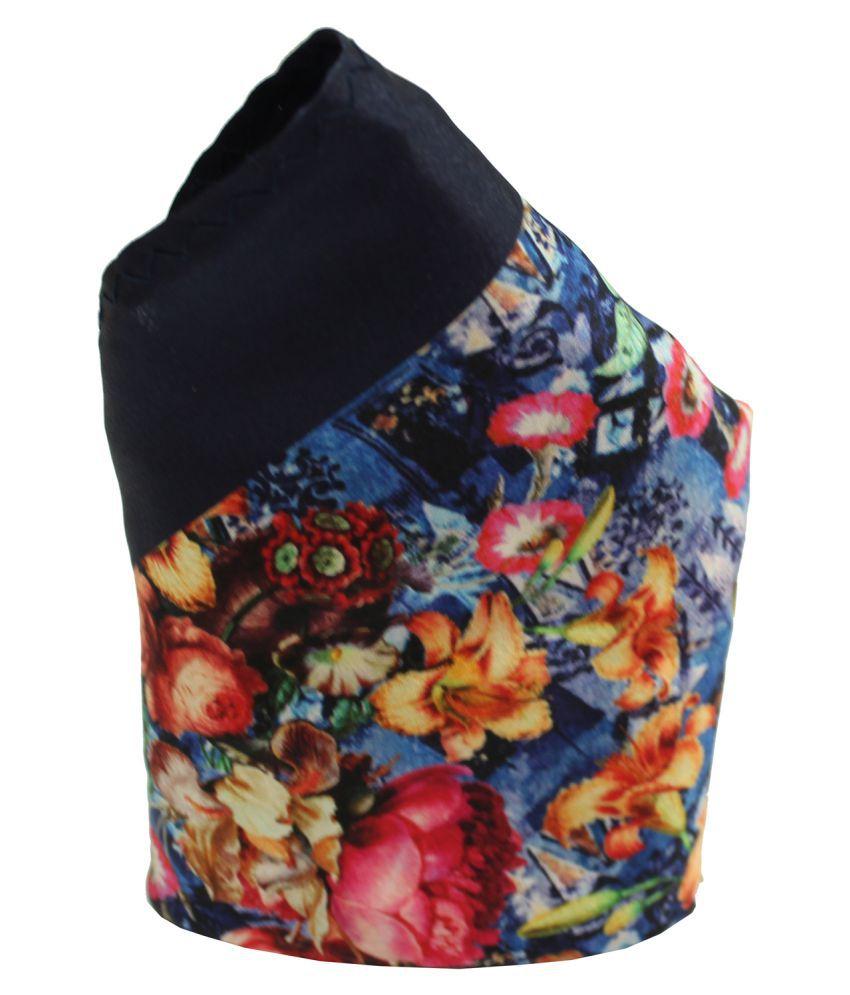 Leonardi Men's Navy Blue Polyester Floral Printed Pocket Square