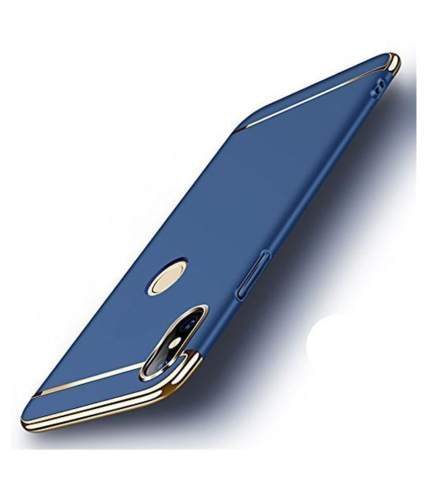 Samsung Galaxy A6 Plain Cases Kosher Traders - Blue 3 In 1 thin chromium glossy finish back cover