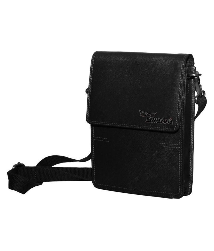 Tamanna LSBU17-TM_8 Black Leather Casual Messenger Bag