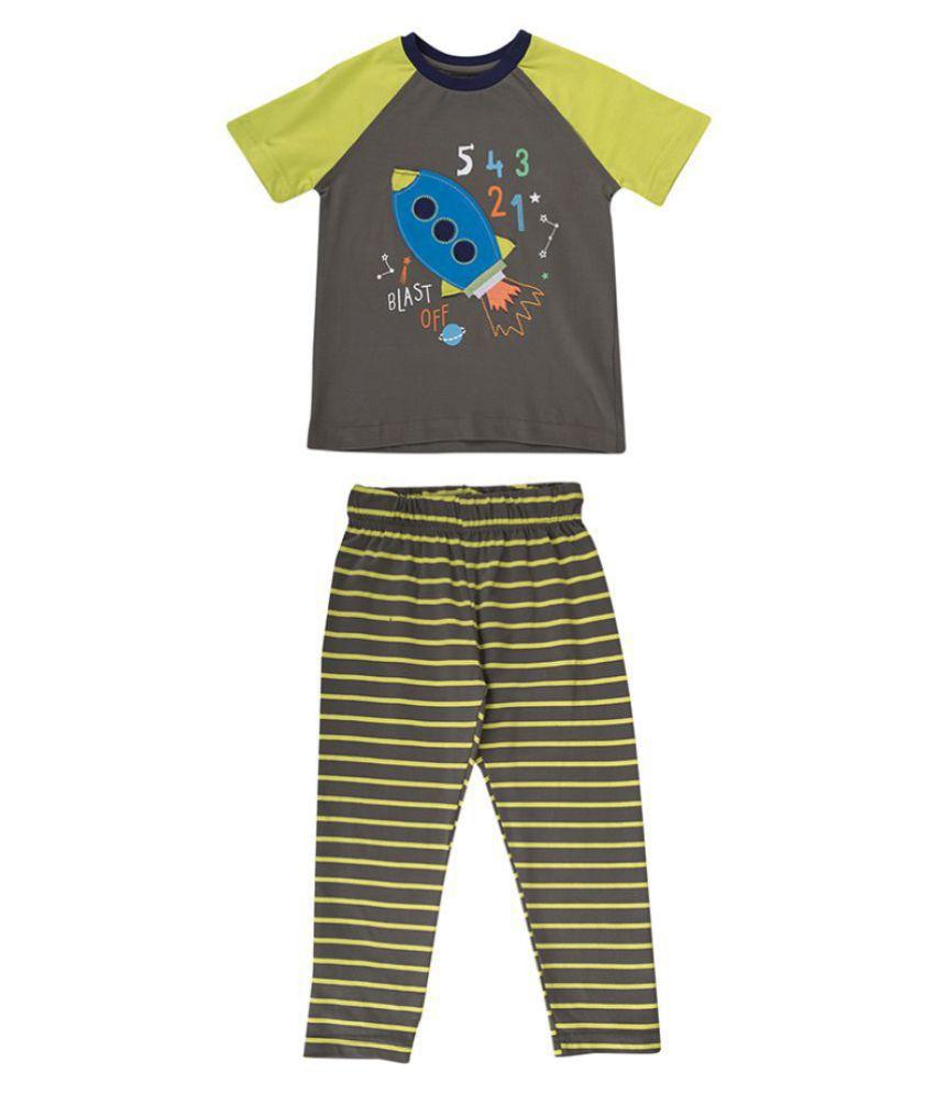 30aad96b Terry Fator Round Neck Half Sleeve T-Shirt Pajama Set - Grey - Buy Terry  Fator Round Neck Half Sleeve T-Shirt Pajama Set - Grey Online at Low Price  - ...