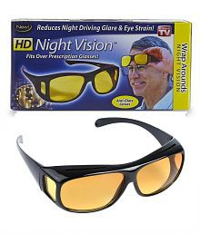 HD Wrap Arounds Night NV Night Vision Night Driving Glasses Yellow Color Glasses 1Pcs. (AS SEEN ON TV)