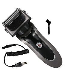 Jm Kemai Rechargeable Triple Bladed Hair Shaver with Trimmer Clipper for Men Foil Shaver ( Black )