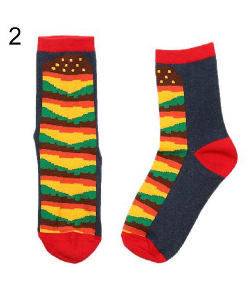 Men Women Cotton Crew Socks Food Pattern Winter Breathable Medium Sock Hosiery