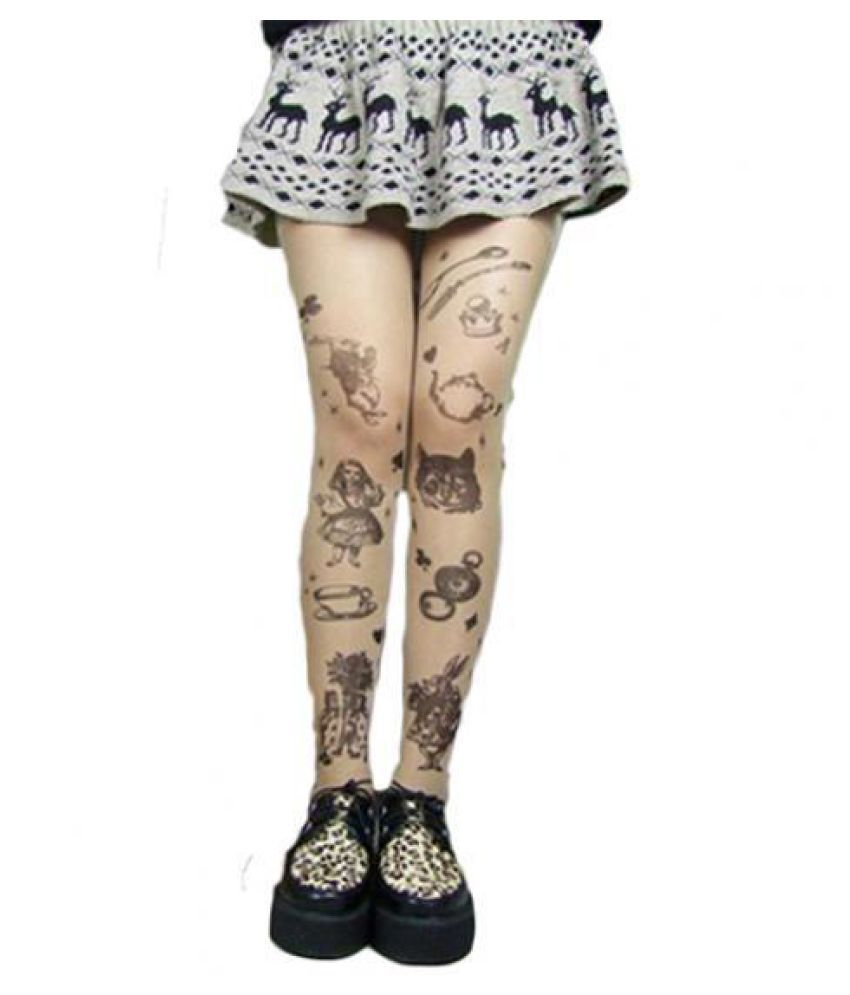 4547ab4abb0a ... Women Fashion Ultra Thin Transparent Tattoo Tights Stockings Pantyhose  Leggings ...