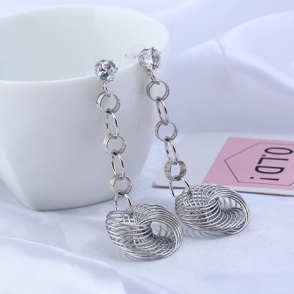 Women's Lady Fashion Hollow Out Dangle Stud Earrings Rhinestone Jewelry Charm(Silver) Fashion Jewellery