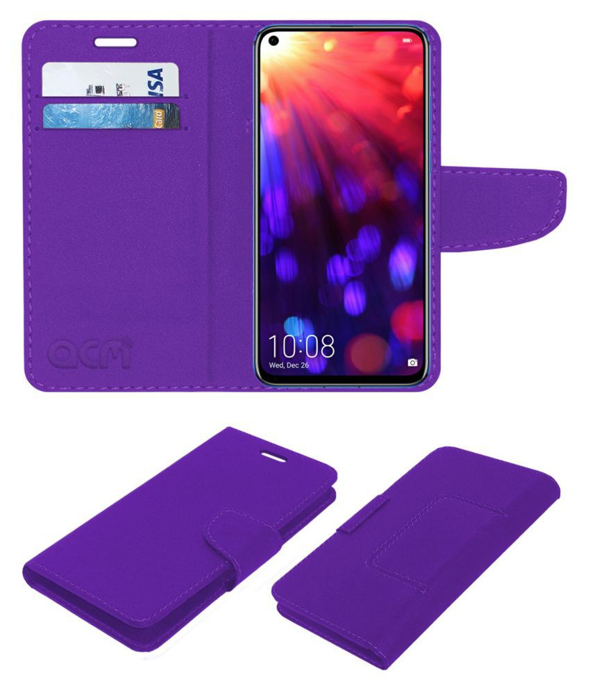 Honor View 20 Flip Cover by ACM - Purple Wallet Case,Can store 2 Card/Cash
