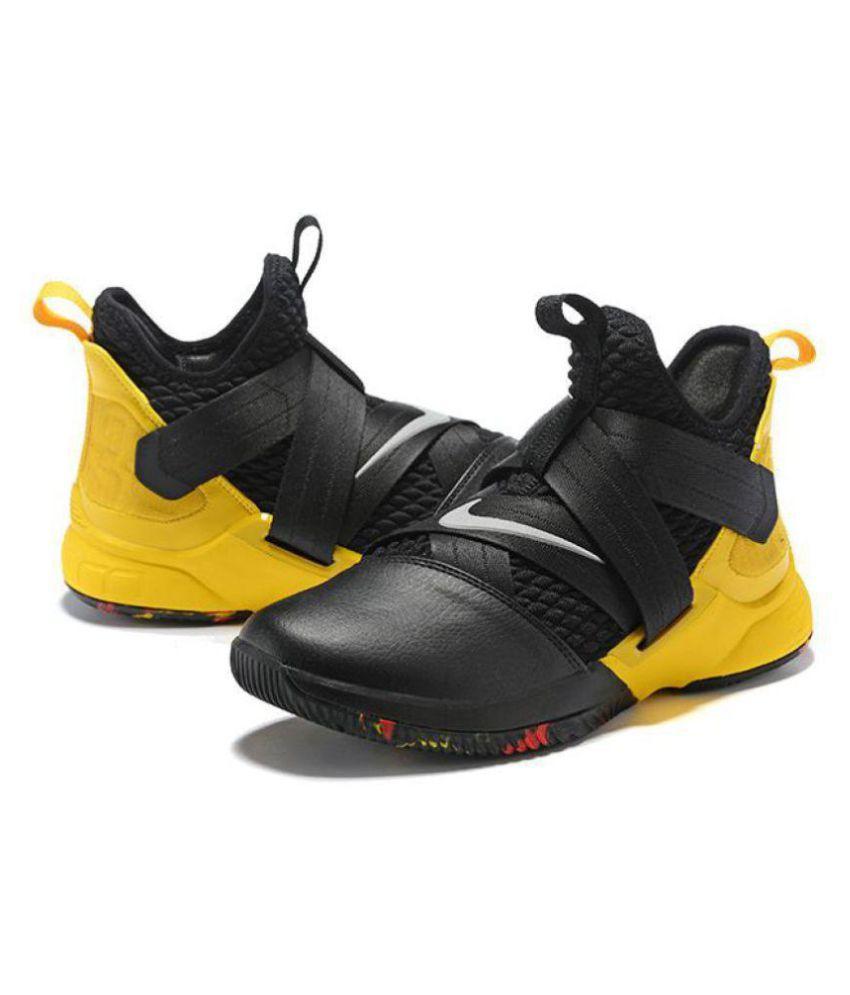 ee4a0b56e3416 Nike Lebron soldier 12 black yellow Midankle Male Black  Buy Online ...