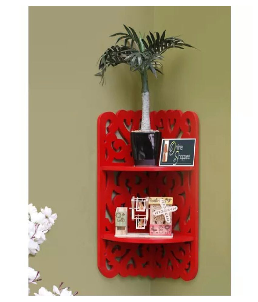Onlineshoppee Floating Shelves Red MDF - Pack of 1