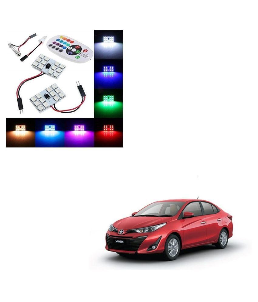 Auto Addict Car 12 LED RGB Roof Light with IR Remote Car Fancy Lights For Toyota Yaris