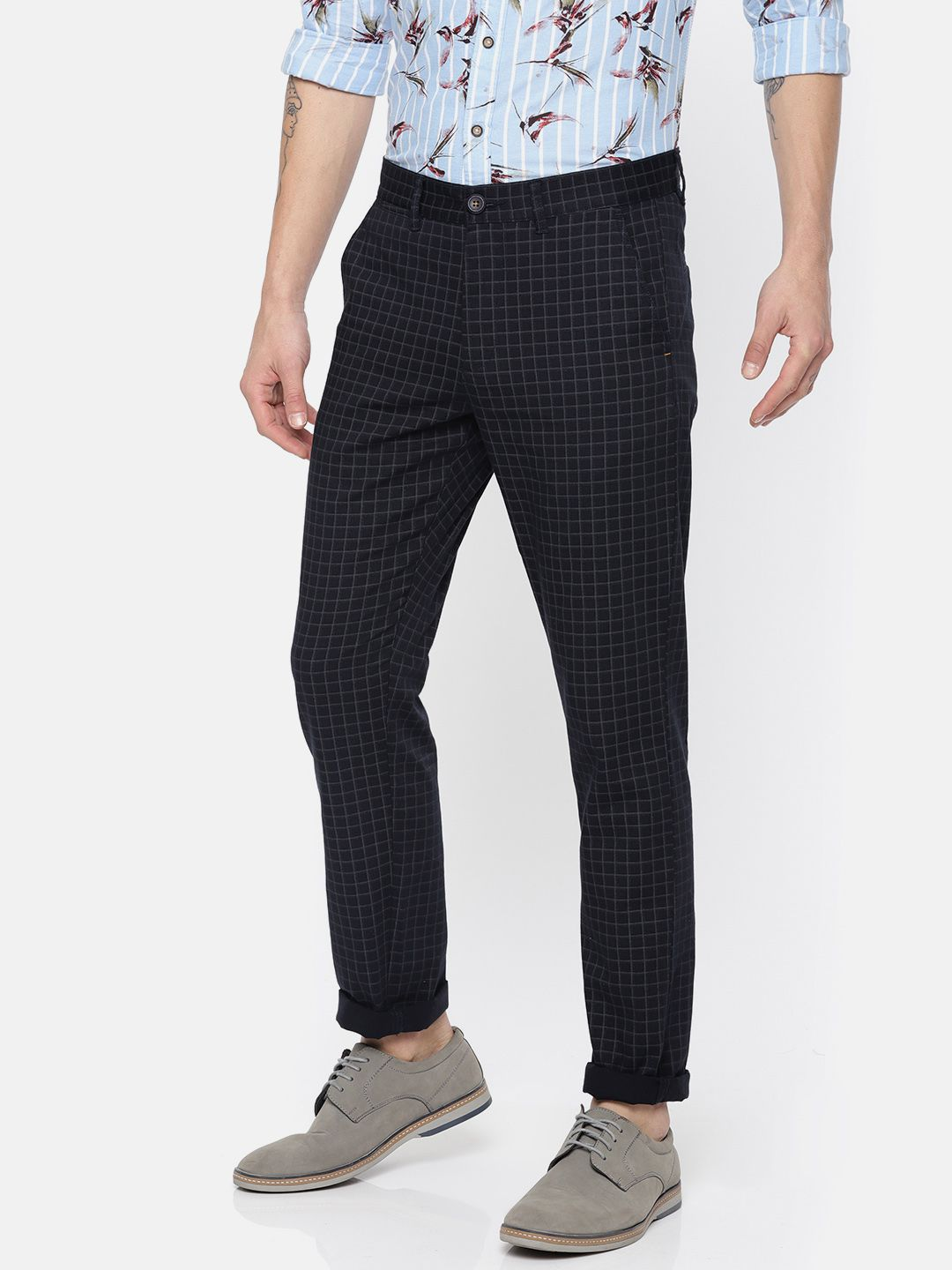 The Indian Garage Co. Navy Blue Slim -Fit Flat Chinos
