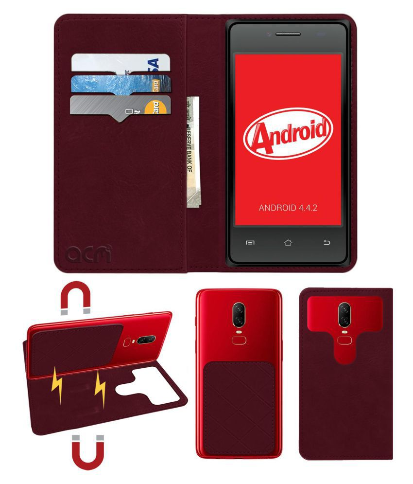 Bloom Globe 4.0 Flip Cover by ACM - Red 2 in 1 Detachable Case,Attachable Flip With Magnet