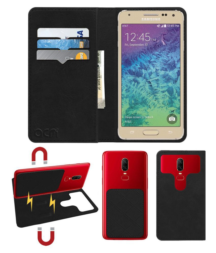 Samsung Galaxy Alpha Flip Cover by ACM - Black 2 in 1 Detachable Case,Attachable Flip With Magnet