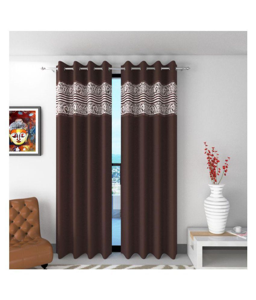 Future Trends Set of 2 Window Blackout Room Darkening Eyelet Polyester Curtains Brown